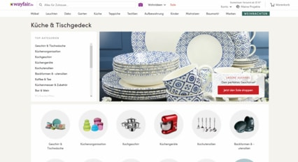 Screenshot der Wayfair Homepage gemacht vom Billigerals Team