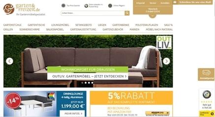 Ein screenshot der Webseite Garten und Freizeit - Billigerals