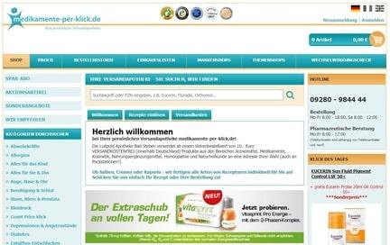screenshot der Medikamente per klick seite